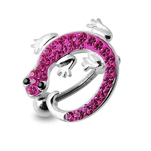 Rosa Crystal Stein Bunte Lizard Design Sterling Silber Bauch Szenekneipen Piercing