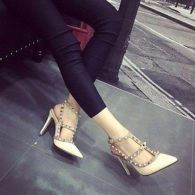 pwne Donna Comfort Tacchi Pu Molla Casual Stiletto Heel Rosso Bianco Beige 4A-4 3/4In US5.5 / EU36 / UK3.5 / CN35