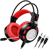 Heasets, Nubwo K6 Over Ear Stereo Gaming Headset with Microphone, Audiophile Level Stereo Headband (Power LED Lights only) for Computer Game With Noise Isolating & Volume +2 X 3.5mm Connectors (Black/Red)