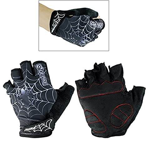 Qepae Outdoor Sports Bicycle Spider Web Pattern Anti-Slip Breathable Half-Finger