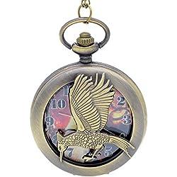 "THE HUNGER GAMES Katniss Everdeen Bronze Antiqued/Vintage Case Men's Quartz Pocket Watch Necklace - On 32"" Inch / 80cm Chain"