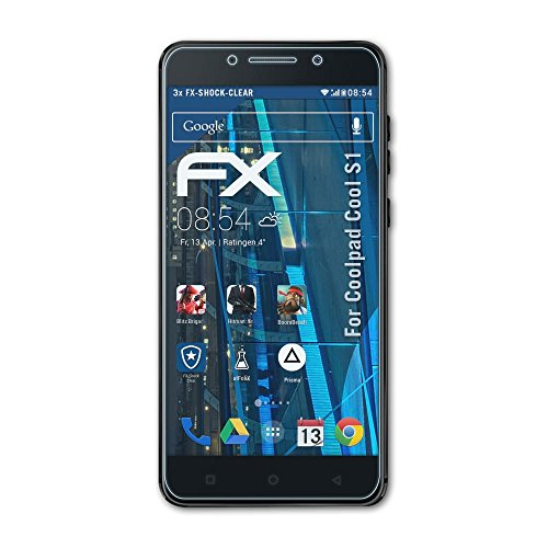 atFolix Schutzfolie kompatibel mit Coolpad Cool S1 Panzerfolie, ultraklare & stoßdämpfende FX Folie (3X)
