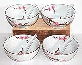 AAF Nommel ® Matcha Reisschalen 4 er Set mit 4 Löffel (8 Teile) Sakura – Kirschblüte Jumbo ø 15 cm Nr. 774