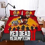 Ull Red Dead Redemption Set Biancheria da Letto di Stampa 3D Set Copripiumino Federe piumoni Set Biancheria da Letto Biancheria da Letto per la casa Tessile,AU~Single