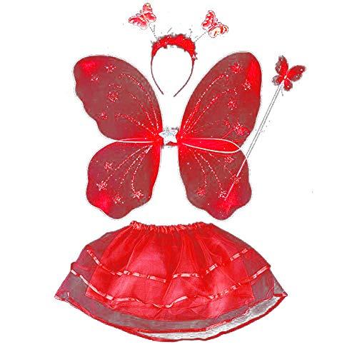 Tutu Kostüm Feen - ESHOO Feenkostüm, Schmetterling, Kinder Kostüm, für Mädchen von 2-8 Jahren, Feenflügel, Stab, Haarreif und Tutu Rock, 4-teilig