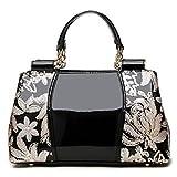 SANSJI Handtaschen Europa und die Vereinigten Staaten Trend einer einzelnen Schulter Leder gebräunte weibliche Tasche teure Damen Lackleder Handtaschen Schwarz