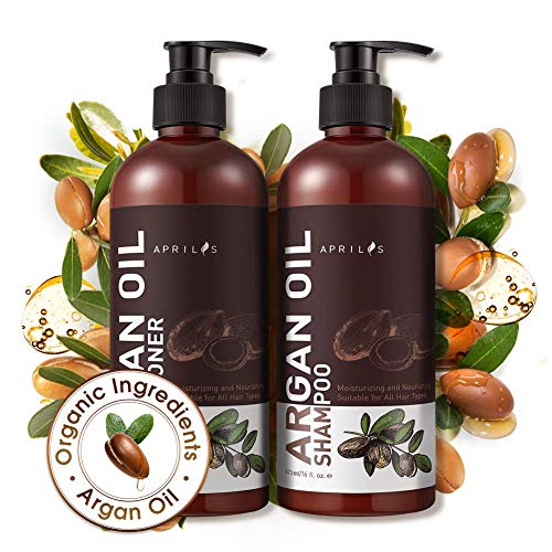Shampoo Conditioner Sets, Aprilis Moroccan Argan Oil Hair Growth Shampoo Conditioner, Vitamin Enriched & Volumizing Treatment for Hair Loss, Damage, Thinning and Regrowth for Men & Women, 2 x 17 fl. oz.