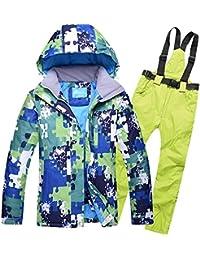 Traje de esquí Modelos de Pareja Hombres Ms al Aire Libre a Prueba de Viento Pantalones de esquí de Gran tamaño Impermeables, XXL, Verde Fruta