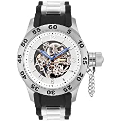 Rougois Automatic Skeleton Dial Naval Diver Watch with Black Band