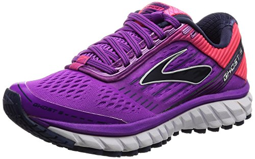 Brooks Ghost 9, Zapatos para Correr para Mujer, Rosa (Purplecactusflower/Divapink/Patriotblue), 37.5 EU