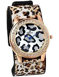 Jewelrywe Relojes de Mujer Correa de Cuero Retro Vintage, Reloj de Pulsera Leopardo Negro Marrón Adorno de Diamante de Imitación, Buen regalo de mujer