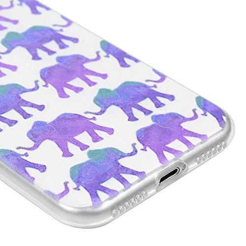 Lanveni Handyhülle für iPhone 7 Hülle×3, Handytasche Etui Protective Case Cover TPU Silikon Schutzhülle TPU-Bumper Weiche Silikon Case mit Bunte Cover Design (Kleiner Elefant) Kleiner Elefant