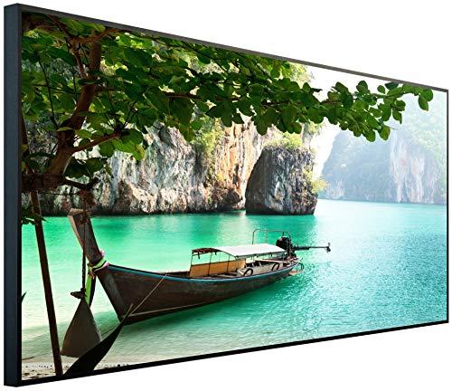 InfrarotPro | Infrarotheizung 750 Watt Bildheizung | Made in Germany | Geprüfte Technik | Ultra-HD Auflösung, D02: Strandmotiv Asiatisches Boot, 120x60x3cm