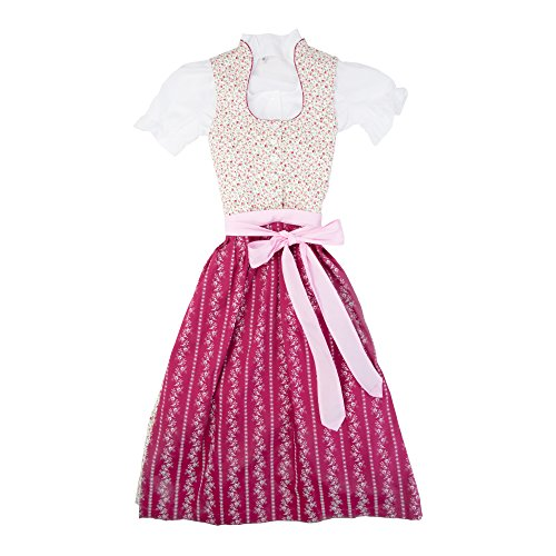 Berwin & Wolff® Mädchen Kinderdirndl 3tlg. grau - rosa Trachtenkleid Dirndl, Bluse rosa Schürze - Marken - Dirndl Set- ArtNr.: 565191 (Kittel Baumwolle Taufe Kleid)