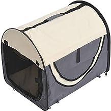 Transportin con Bolsa Transporte Perro Gato L (70 x 51 x 59) Mascotas Plegable de Viaje Gris