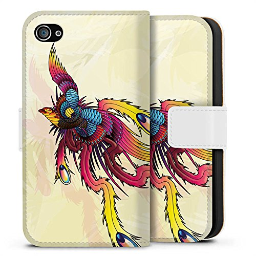 Apple iPhone X Silikon Hülle Case Schutzhülle Phoenix Feder Kunst Sideflip Tasche weiß