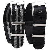 Randon - Confezione di 2 cinturini per orologi Nato, in nylon balistico Premium con fibbia in acciaio inox per usi gravosi, 22 mm, colore: nero/nero e grigio