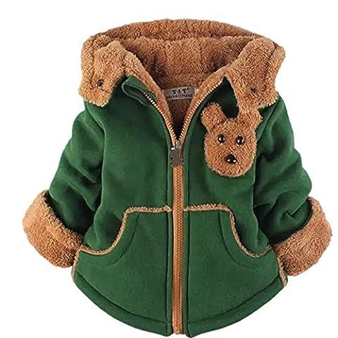 Yan's Baby Winter Coat Jacket Thick Wool Inside Kids Warm Winter Girls Boys Winter Top (2-3 Year Old, Green)
