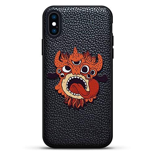 Fantasy Schutzhülle für iPhone XS/X (5,8 Zoll / 14,7 cm), Leder, Motiv: Dreiäugiges Orange Monster mit Zunge zum Hinstecken der Zunge aus echtem Leder, 3D-Druckdesign
