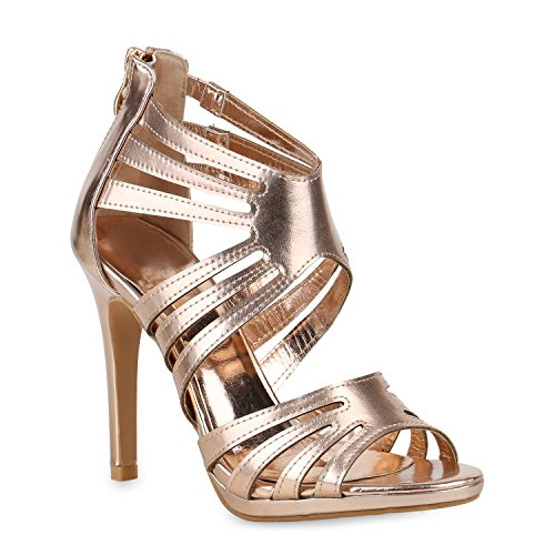 Damen Schuhe Riemchensandaletten Stiletto High Heels Sandaletten Metallic 153584 Rose Gold Metallic Camargo 38 Flandell Metallic-stiletto Heel