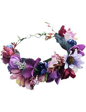 YAZILIND boda de Novia de flores corona guirnalda de flores retro playa floral diadema de Dama de honor tocado...