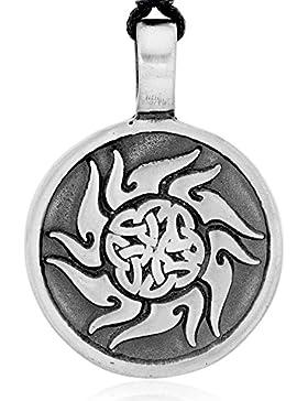 Llords Schmuck Halskette mit irischen Knoten keltischer Sonne Anhänger, feinster Zinn Metall Modeschmuck