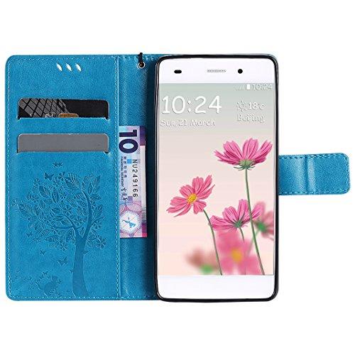 Huawei P8 Lite Ledergeldbörse Handyhülle Shell Hülle Bumper, Portemonnaie Hülle für Huawei P8 Lite HuaForCity® Huawei P8 Lite Leder Kratzfest Smartphone Fall Wallets Shell mit Karten Schlitz Halter Ma PU-2-Blue