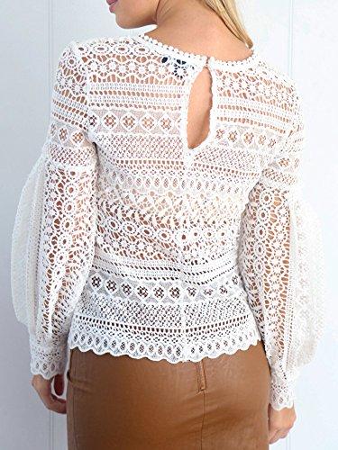 Simplee Apparel Damen Reizvoll Durchbrochenen Lampion Ärmel Chiffon Spitze Shirt Pullover Tops Weiß Rosa Weiß