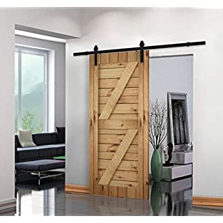 Unionline 8 Ft American Style Sliding Wood Barn Door Hardware Sliding Track Kit Steel Straight Style Black by Unionline