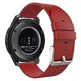 MoKo Armband für Samsung Gear S3 Frontier / Classic / Moto 360 2nd Gen 46mm - Premium Soft Echt Leder Uhrenarmband Lederarmband Uhr Band Ersatzband für Samsung Gear S3 Classic Samrtwatch, Rot