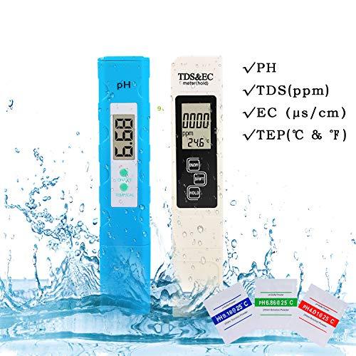 Wasserqualität Tester, Digital-pH-Meter, 3 in 1 TDS Metern mit TDS, EC und Temperatur mit Auto Calibration Funktion, 4-Modus zu wechseln, beweglichen Wasser Tester mit ATC für Trinkwasser, Aquarien -