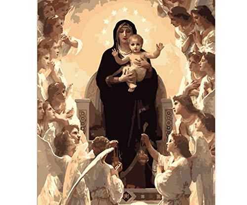 Figura de la Virgen María DIY Pintura digital por números Arte moderno de la pared Pintura de la lona Decoración única del hogar 40x50cm sin marco