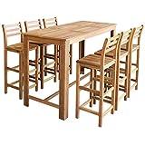 Festnight 7tlg. Barset Bartisch und Barhocker Tisch- und Hocker-Set aus Massives Akazienholz Sitzgruppe Esszimmergarnitur