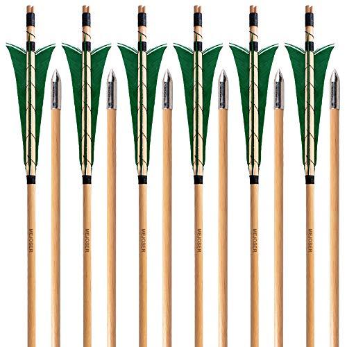 """MEJOSER Holzpfeile Echte 4"""" Naturfedern 32 Zoll Pfeile für Bogen Selfnock mit Wickung Bogenpfeile für bis 55 lbs traditionalen Bogen Bogenschießen (Weiß) (grün) (grün)"""