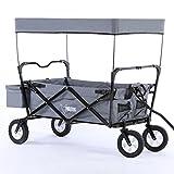 GRAU Bollerwagen klappbar CT300 Grau Handwagen Leiterwagen Strandwagen mit Sonnendach