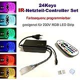 24 Keys Infrarot Netzteil Controller Set für 230V LED RGB mehrfarbig Strip Streifen, mit 24 Keys Infrarot (IR) dimmbar Fernbedienung, Dimmfunktion, Farbsequenz Farbreihenfolge programmierbar (Zubehören, IR Netzteil-Controller)