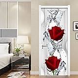 3D Sticker De Porte Rose Rouge Diy 3D Créatif Wall Sticker Mural Chambre Porte Décor À La Maison Affiche Porte Amovible Rénovation Imperméables 95 * 215Cm
