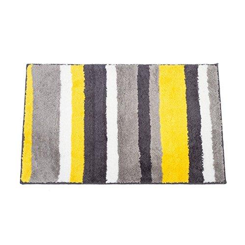Anti-Rutsch-Badteppich weichen, saugfähigen Baumwolle Badvorleger maschinenwaschbar Teppich, Hochwertige Fußmatte/Schmutzfangmatte/Badvorleger/Duschvorleger 86 x 53 cm