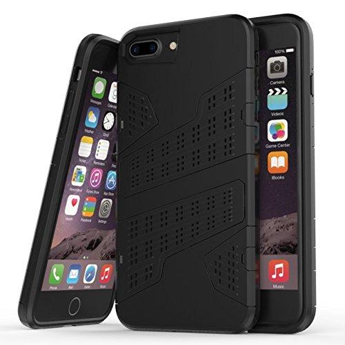 """iPhone 6 Plus 6S Plus Hülle,iPhone 7 Plus Hülle,Lantier 2 in 1 Kombi Rüstung mit Luftloch Design Stoßfestes leichtes Defender SchutzHülle für iPhone 6 Plus/6S Plus/7 Plus 5.5"""" Rot Black"""