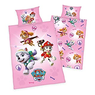 Herding Baby Bettwäsche glatt pink/rosa Paw Patrol Chase Rubble Marshall 100 x 135 Wow - All-In-One-Outlet-24 -