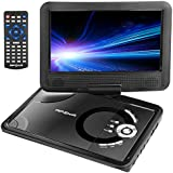 "Apzka 9.5"" Portable DVD Player With Rechargeable Battery, Game Joystick And Car Charger, Swivel Screen SD Card Slot And USB Port, Use Via Remote Control And Menu Key"