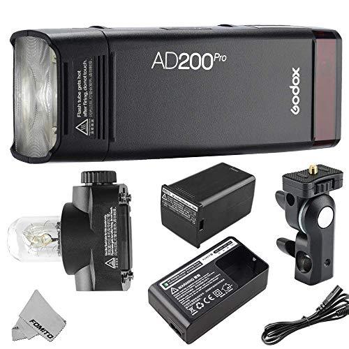 Godox AD200Pro Taschenblitz AD200 Pro 200Ws 2,4G TTL-Funkblitz, 1/8000 HSS, 500 Vollleistungsblitze, 0,01-1,8 s Recycling, 2900 mAh Batterie, mit blanker Birne GN60 / Speedlite Fresnel-Blitzkopf GN52