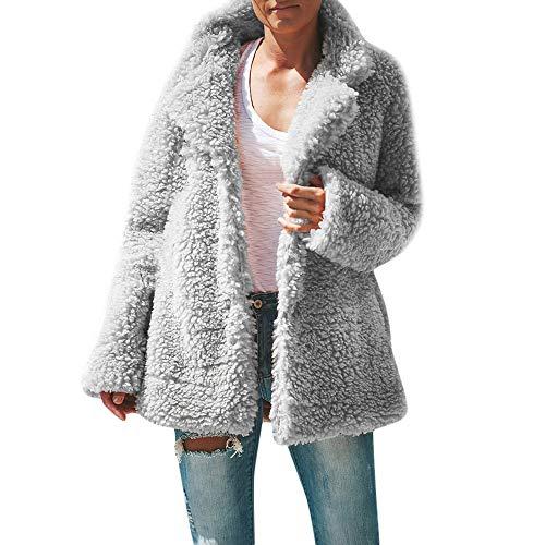 songff Plüschmantel Sweatshirt Rollkragen Cardigan Langärmelige Einfarbige Strickjacke Jacke Faux Fur Overcoat Schwarz Grau Kaffee ()