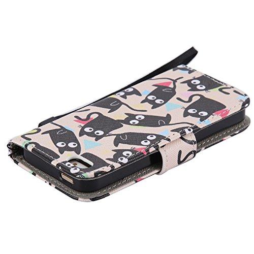 iPhone SE/5S/5Custodia, Tebeyy Custodia Flip a portafoglio in pelle, custodia con cavalletto [Premium] [Card Slot] [chiusura magnetica], colorato con disegno cute animale Motivo floreale PU Custodia  Black Cat
