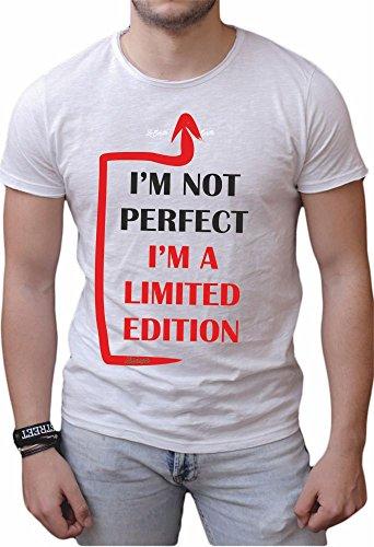 T-shirt cotone fiammato Scollo ampio a taglio vivo - I'M NOT PERFECT I'M A SPECIAL EDITION (M, BIANCO)