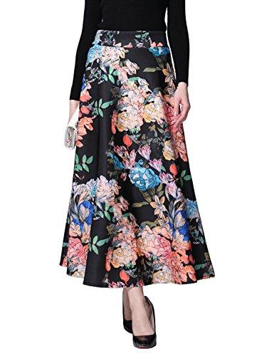 Relaxfeel Vintage Print Space Coton élégant jupe longue Noir