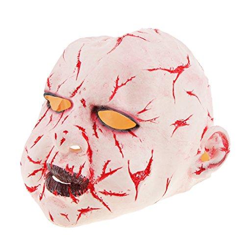 Baoblaze Horrormaske Clown Hexe und Zombie Latex Maske Halloween Cosplay und Karneval Kostüm Accessoires, Eine Größe für alle Menschen, Bequem und Atmungsaktiv - Blutiger Geist