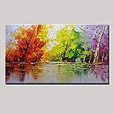 XIAOXINYUAN Pintura Al Óleo Pintada A Mano del 100% Árbol del Color Cuadro Abstracto De La Pared del Arte Moderno De La Pintura Al Óleo De La Decoración Casera 80×120Cm