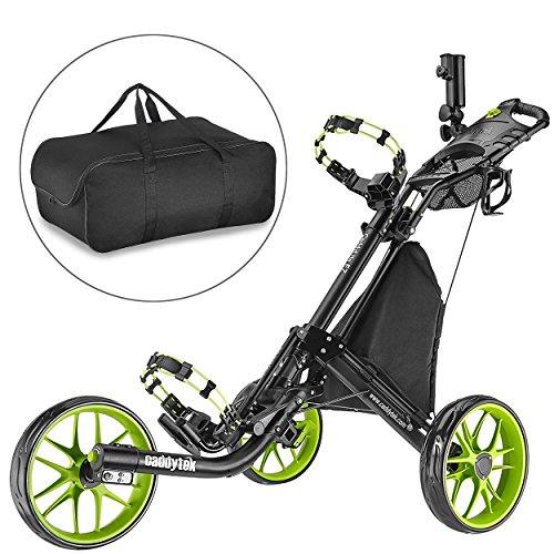 CaddyTek Golfwagen golf trolleys 3 Rad Golf Push cart leicht falten-lime mit lager - tasche (Räder Für Golf Carts)