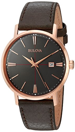 Bulova Men's Quartz Stainless Steel and Leather Dress Watch, Color Brown (Model: 97B154)
